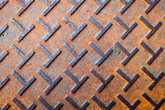 Rusted metal texture. Manhole cover rustic steel texture background Royalty Free Stock Photo