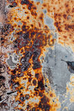 Rusted metal texture,  paint and unreadable text Stock Photo