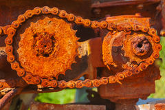 Rusted metallic cog-wheels mehanism Stock Images