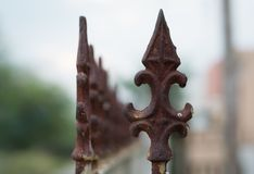 Rusted Metallic Iron Spike with Gradual Blur. An antique spike made of iron, rusted Royalty Free Stock Photos