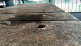 A rusted nail on wooden table. A nail is seen clearly at wooden surface while there is a car in background Stock Image