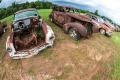 Rusted Old Cars Sit In A Georgia Auto Junkyard. Rusted old vehicles sit lined up in an auto junkyard Stock Image