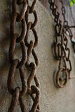 Rusted old chains. Old metal chains covered by rust Stock Photo