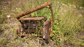 Rusted old engine. A rusted old engine in a grassy area.  Photo taken on: November 7th, 2014 Stock Photos