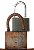Rusted old hanging lock and а new one Royalty Free Stock Images