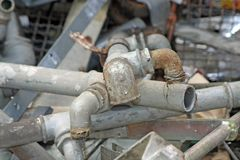 Rusted and old iron pipes and lead Royalty Free Stock Images