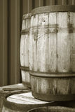 Rusted old oak barrels to preserve herring captures. Rusted old oak barrels to preserve herring captures vertical Royalty Free Stock Photo