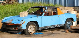 Rusted Out And Abandoned Porsche 914 stock photos