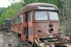 Rusted Out Trolley Kenmore Boston Trolley System. Old Green Line Trolley from Boston rusted out and rotting at the CT Trolley Museum royalty free stock photography