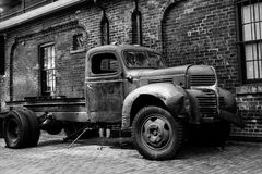 Rusted Out Truck at the Distillery District in Toronto stock images