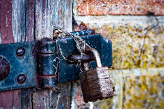 Rusted padlock and hasp Stock Photo