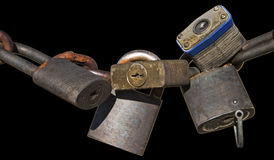 Rusted padlocks chain isolated black Royalty Free Stock Photos