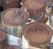 Rusted paint cans Royalty Free Stock Image