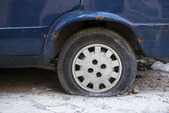Rusted paint and flat tire Royalty Free Stock Photo