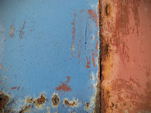Rusted painted metal wall, close up background. Stock Images