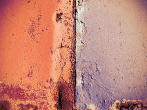 Rusted painted metal wall, close up background. Royalty Free Stock Images