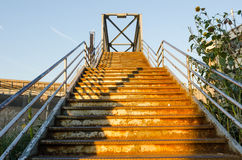 Rusted Queens Stariway. Old forgotten stairs in Queens, New York Royalty Free Stock Image