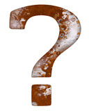 Rust question mark rustic textures. Isolated oxidized metal question mark, interrogation point or query with rusty texture. Meaning interesting chance, old Stock Image