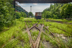 Rusted railway and abandoned carriage Stock Images