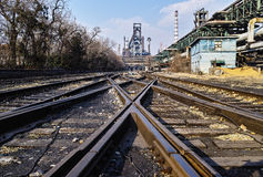 Rusted railway and abandoned steel works in Beijing Stock Images