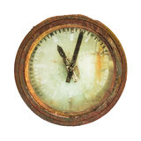 Rusted railway station clock isolated on white Stock Image