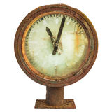 Rusted railway station clock isolated on white Stock Photos