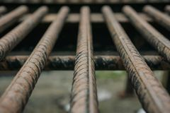 Rusted Reinforcing Steel Bar. Selective focus of rusted reinforcing steel bar Royalty Free Stock Image