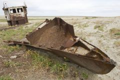 Rusted remains of fishing boats,  Aralsk, Kazakhstan. Stock Photography
