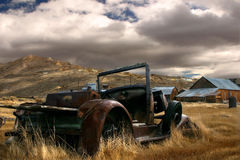 Abandoned Car at Bodie. The rusted remains of an old car abandoned in the middle of nowhere at Bodie ghost town Royalty Free Stock Photo