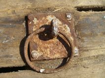 Rusted ring. In the Sea breakwater Royalty Free Stock Photos