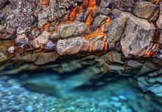Rusted rocks in Fairy Pools Royalty Free Stock Image