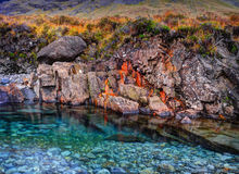 Rusted rocks in Fairy Pools Royalty Free Stock Images