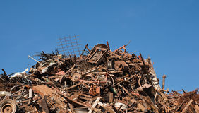 Rusted scrap metal pile Stock Images