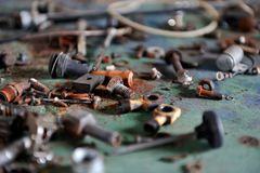 Rusted screws royalty free stock photo
