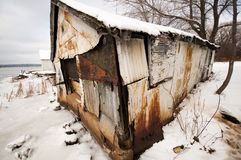 Rusted Shed in Winter royalty free stock images