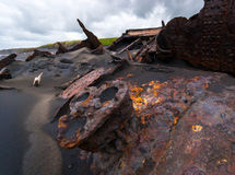 Rusted shipwwreck in New Zealand royalty free stock images