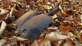 Rusted Shovel  1. Broken rusted shovel left in the woods Stock Photography