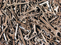 Rusted Spanners. A background of rusted old Spanners/wrenches in different sizes Stock Images