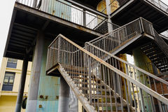 Rusted stairway in abandoned factory Royalty Free Stock Images