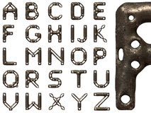 Rusted steel alphabet. 3D render of rusted letters forged from steel Royalty Free Stock Photography