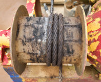 Rusted steel wire rope Boat equipment Royalty Free Stock Photo