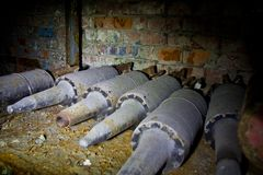 Rusted tank shells on an abandoned military depot Royalty Free Stock Images