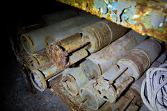 Rusted tank shells on an abandoned military depot Royalty Free Stock Photos