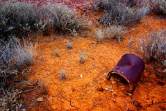 Rusted tin can desert Royalty Free Stock Photo