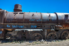 Rusted Train Cemetery in Uyuni, Bolivia Royalty Free Stock Image