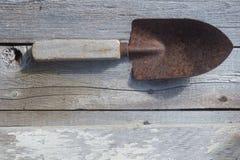 Rusted trowel on barnwood Royalty Free Stock Photos