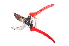 Rusted used red garden secateurs Stock Image