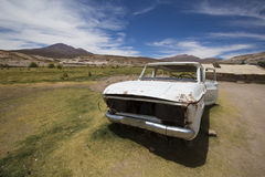 Rusted vehicle in the Altiplanos, Bolivia Royalty Free Stock Images
