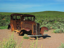 Rusted Vintage Car on Old Route 66 - AZ Royalty Free Stock Photo