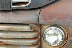 Rusted vintage pick up truck. Details on the front of a rusted old pick up truck Royalty Free Stock Photo